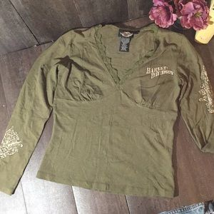 Harley Davidson long sleeve e neck lace top Small